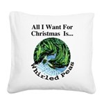 Christmas Peas Square Canvas Pillow