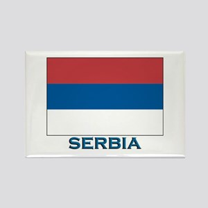 Serbia Flag Gear Rectangle Magnet