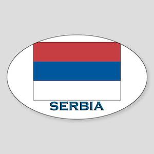Serbia Flag Gear Oval Sticker