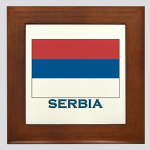 Serbia Flag Gear Framed Tile