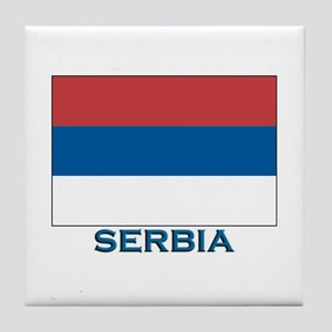 Serbia Flag Gear Tile Coaster