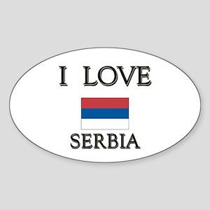 I Love Serbia Oval Sticker