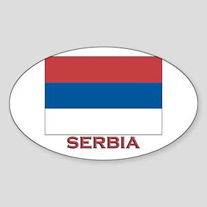 Serbia Flag Merchandise Oval Sticker