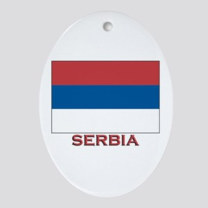Serbia Flag Merchandise Oval Ornament
