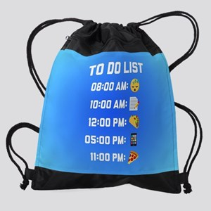 Emoji To Do List Drawstring Bag