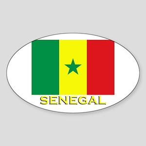 Senegal Flag Gear Oval Sticker