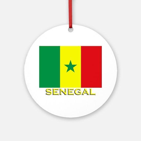 Senegal Flag Gear Ornament (Round)