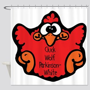 cluck-wolf-parkinson-white Shower Curtain