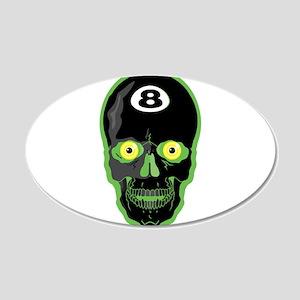 green 8 ball skull 20x12 Oval Wall Decal