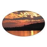 Cavity Lake Sunset Oval Sticker