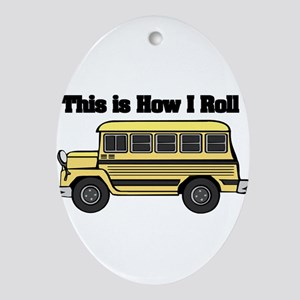 short yellow bus Ornament (Oval)