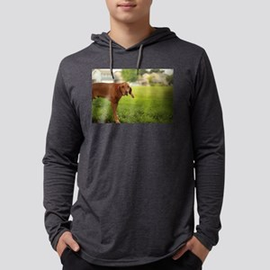Viszla dog at park in san Jose Mens Hooded Shirt