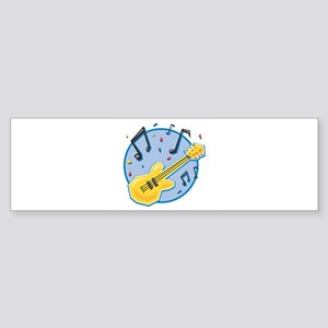 guitar and music notes circle copy Sticker (Bu