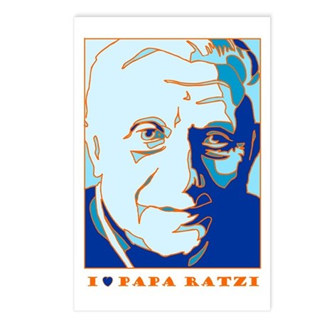 Papa Ratzi New Pope Benedict Blue Postcards (Packa