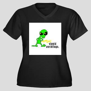 alien peeing copy.jpg Women's Plus Size V-Neck Dar