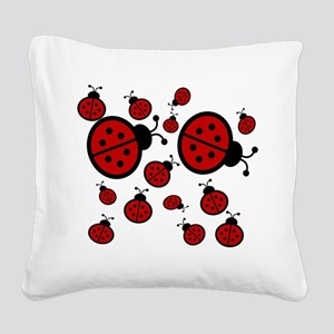 Lady Bugs Square Canvas Pillow