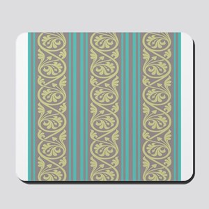 stripes and damask teal brown olive-01 Mousepa