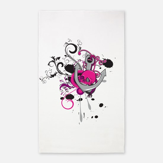 pink gothic skull and anchor vector art design.pn