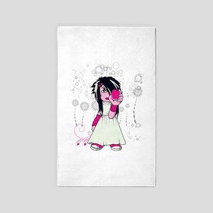 cute emo girl holding heart vector art 3'x5' A