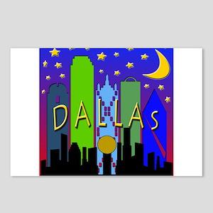 Dallas Skyline nightlife Postcards (Package of 8)