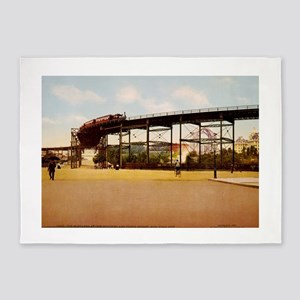 Elevated Train at 110th Street NYC 5'x7'Area Rug