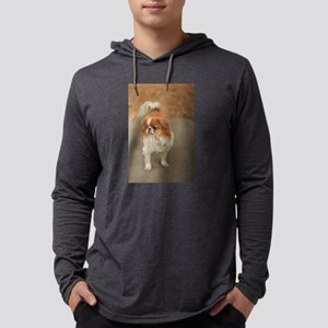 Japanese chin on path at park in Mens Hooded Shirt