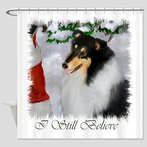 Tri Collie Christmas Shower Curtain