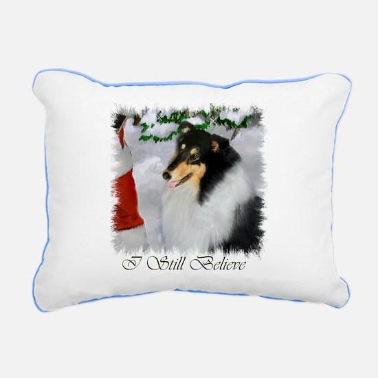 Tri Collie Christmas Rectangular Canvas Pillow