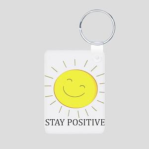 Happy Positive Sun Aluminum Photo Keychain