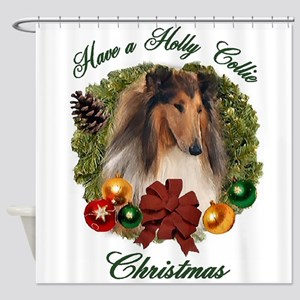 Rough Collie Christmas Shower Curtain