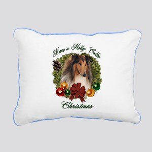 Rough Collie Christmas Rectangular Canvas Pillow