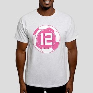 Soccer Number 12 Custom Player Light T-Shirt