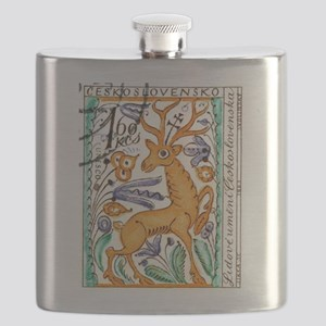 1963 Czechoslovakia Deer Art Postage Stamp Flask