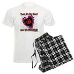 Valentine Fragile Heart Men's Light Pajamas