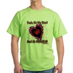 Valentine Fragile Heart Green T-Shirt