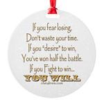 Winner Motivational Round Ornament