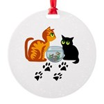 KIttys At Play Round Ornament