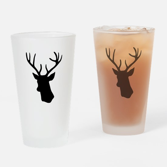 White stag deer head Drinking Glass