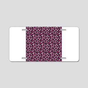 Hot Pink Leopard Print Aluminum License Plate