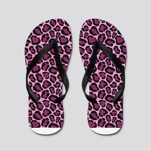 Hot Pink Leopard Print Flip Flops
