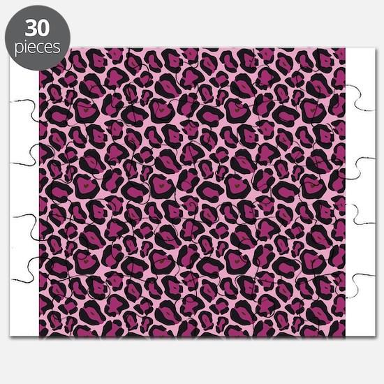 Hot Pink Leopard Print Puzzle
