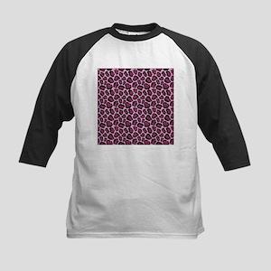 Hot Pink Leopard Print Kids Baseball Jersey