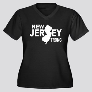 New jersey Strong Women's Plus Size V-Neck Dark T-