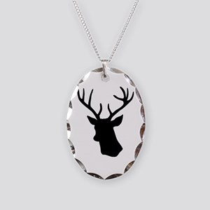 Black stag deer head Necklace Oval Charm