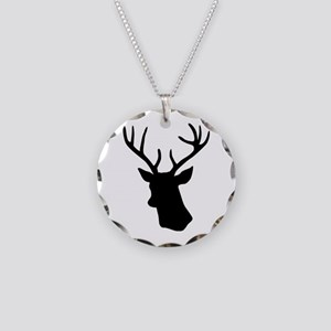 Black stag deer head Necklace Circle Charm