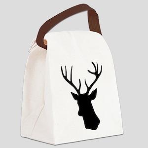 Black stag deer head Canvas Lunch Bag