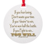 Winners Motivational Round Ornament