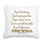 Winners Motivational Square Canvas Pillow