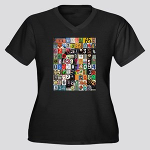 Places of Pi Women's Plus Size V-Neck Dark T-Shirt