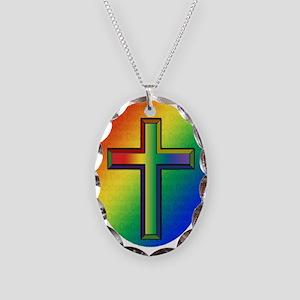 De Colores Cross Necklace Oval Charm